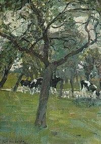Piet Mondriaan - Trees and cows along a stream - A46 - Piet Mondrian, catalogue raisonné.jpg