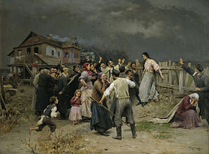 Interfaith marriage in Judaism - A painting by Mykola Pymonenko (c. 1899) which documents an event in Ukraine that the artist read about: a Jewish woman was attacked by members of her community for falling in love with a Christian convert.