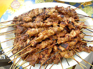 "Brochette - ""Pinchos Morunos"" ready to eat"