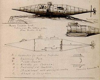 Pioneer (submarine) - Image: Pioneer Sub Drawing Stauffer