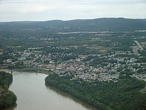 Pittston, Pennsylvania - Pittston City aerial view looking northeast.