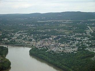 Pittston, Pennsylvania - Pittston City aerial view looking northeast.