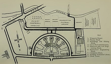 Plan of the new University Campus at Edgbaston, proposed by architects Sir Aston Webb and Mr Ingress Bell in 1909 Plan Edgbaston University 1909.jpg