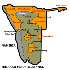 Bantustan - Allocation of land to bantustans according to the Odendaal Plan. Grey is Etosha National Park.