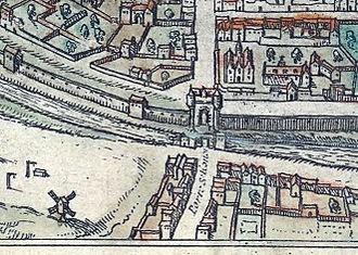 Siege of Paris (1429) - The Porte Saint-Honoré, a century later to 1530 (Braun and Hogenberg plan).