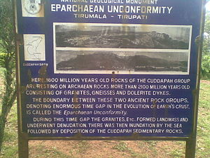 Tirupati - A board in Tirumala hills briefing details of Eparchaean Unconformity