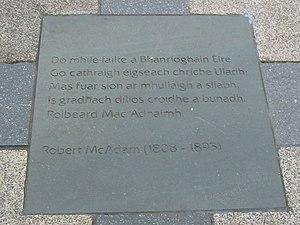 Literature of Northern Ireland - Poetry in Irish by Robert McAdam (1808–1895) in paving, Writers' Square, Belfast