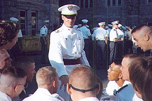 United States Military Academy class ring - Plebes admire a firstie's ring.