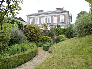 """Plympton House - Plympton House, west front, viewed from the walled """"Mound Garden"""""""