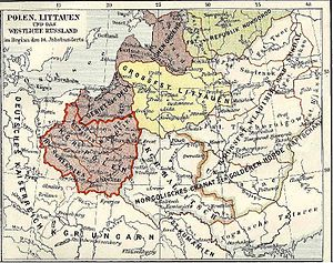 Lubusz Land - Poland (outlined in red) after the loss of Lubusz Land, early 14th century