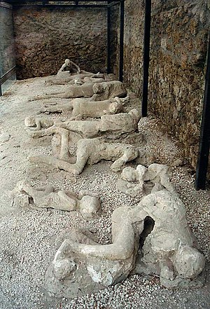 The casts of the corpses of a group of human v...