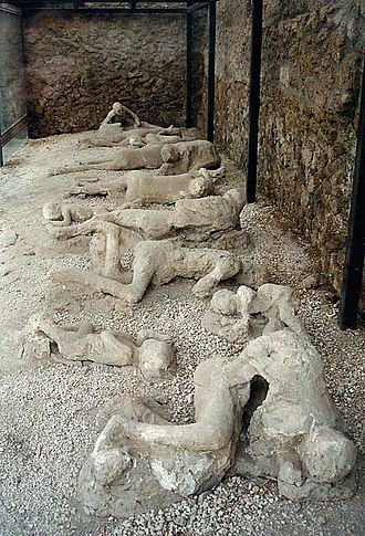 "Eruption of Mount Vesuvius in 79 - The casts of some victims in the so-called ""Garden of the Fugitives"", Pompeii."