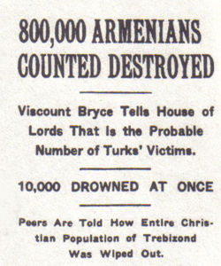 New York Times headlines on the mass murder of Armenians and Pontic Greeks