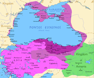 Mithridates VI of Pontus - Map of the Kingdom of Pontus, Before the reign of Mithridates VI (dark purple), after his conquests (purple), his conquests in the first Mithridatic wars (pink) and Pontus' ally the Kingdom of Armenia (green).