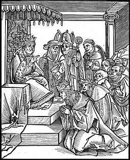 Antichristus, by the Lutheran Lucas Cranach the Elder. This woodcut of the traditional practice of kissing the pope's foot is from Passionary of the Christ and Antichrist. PopeKissing Feet.JPG