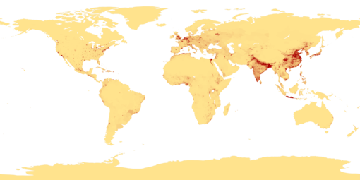 The distribution of world population in 1994 Population density.png