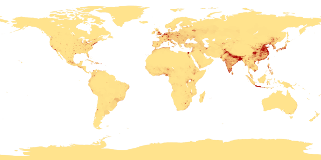 Areas of high population densities, calculated in 1994 Population density.png