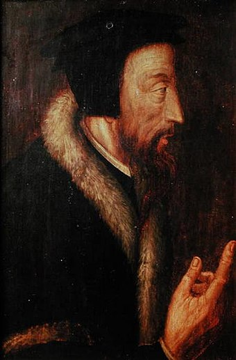 Sixteenth-century portrait of John Calvin by an unknown artist. From the collection of the Bibliotheque de Geneve (Library of Geneva) Portrait john calvin.jpg