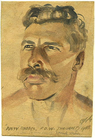 "Far East prisoners of war - Portrait of FEPOW ""Dusty"" Rhodes. A three-minute sketch by Ashley George Old  painted in Thailand in 1944."