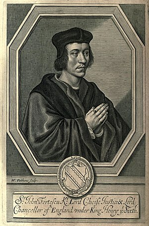 John Fortescue (judge) - Image: Portrait of Sir John Fortescue by William Faithorne, from Fortescutus Illustratus (1663) by Edward Waterhouse