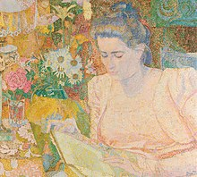 Impressionist painting of a young woman reading a book