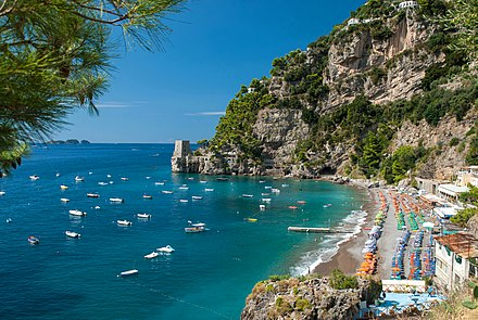 The Amalfi Coast, a UNESCO World Heritage Site, is one of Italy's major tourist destinations. Positano - Fornillo Beach.jpg