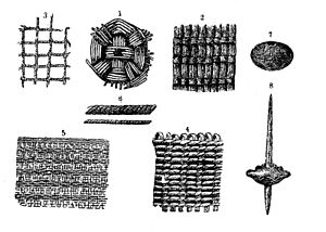 Prehistoric woven objects and weaving tools