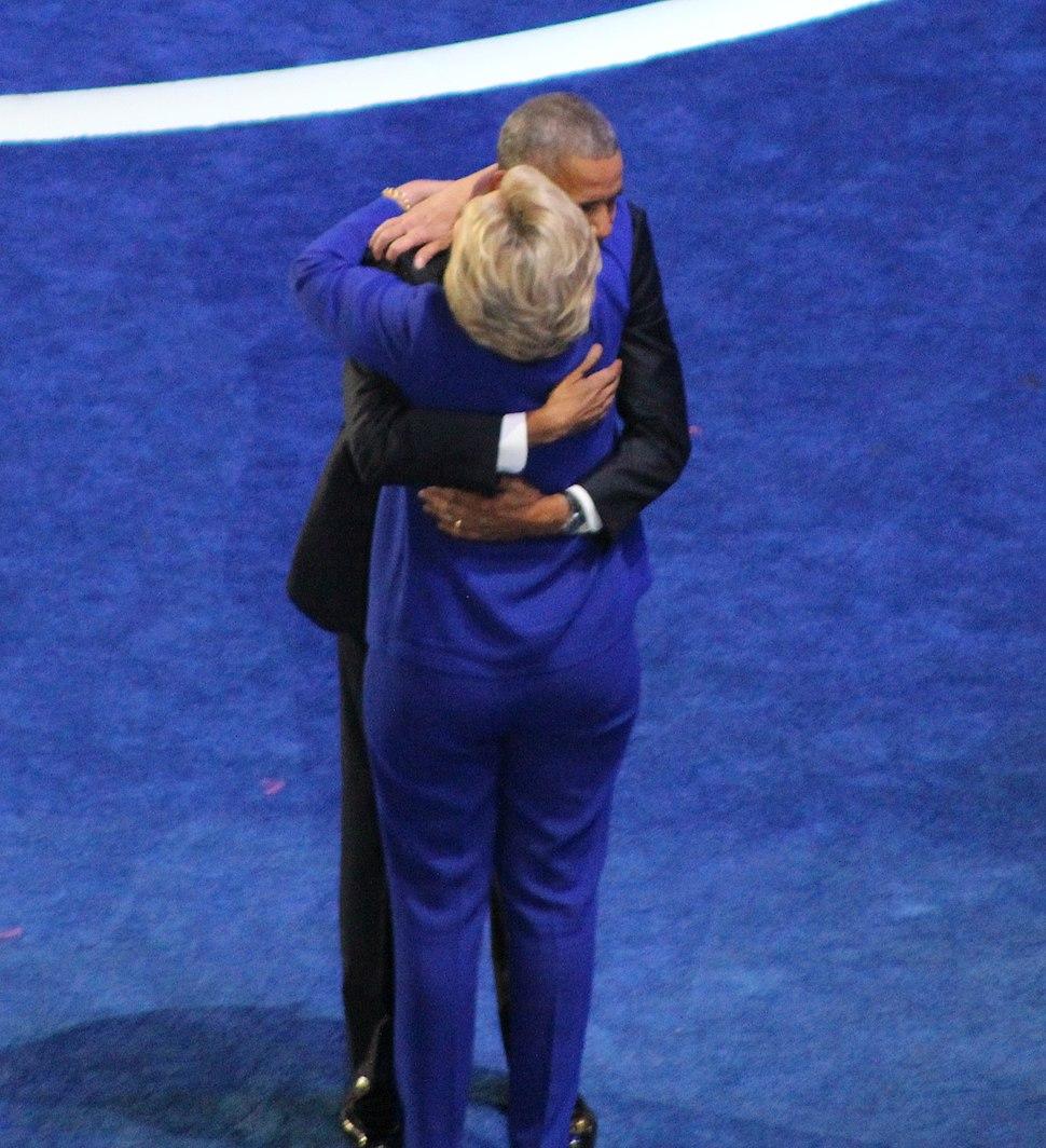 President Barack Obama and Hillary Clinton Hug July 2016