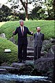 President William J. Clinton with Prime Minister Kiichi Miyazawa in the Garden of Iikura House - NARA - 2581382.jpg