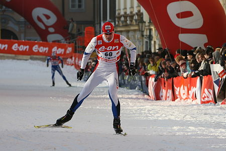 Priit Narusk in the qualification for the Tour de Ski cross-country skiing competition in Prague