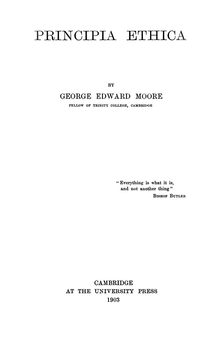 Principia Ethica title page
