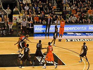 Providence Friars men's basketball - Syracuse vs. Providence game in February 2010 at the Dunkin' Donuts Center.