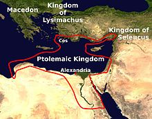 Map of eastern Mediterranean, showing the Ptolemaic Kingdom, Alexandria in the north of Egypt, and Cos in the Aegean just off the coast of Asia