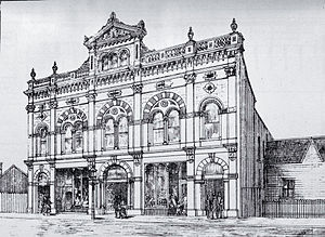 Odeon Theatre, Christchurch - The original facade of the Tuam Street Hall including a significant parapet (removed in 1960)