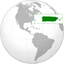 Puerto Rico (in green) is seen in the middle of the Caribbean.