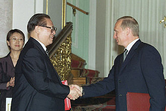 2001 in China - Jiang Zemin and Vladimir Putin after signing the Treaty of Good-Neighborliness and Friendly Cooperation