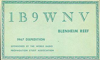Blenheim Reef - Amateur radio QSL card from Blenheim Reef