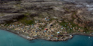 Aerial view of the Greenland village Qaarsut, ...