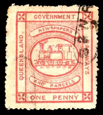 Railway stamp - A used railway stamp from Queensland, Australia, for 1 penny valid for the transport of newspapers and parcels