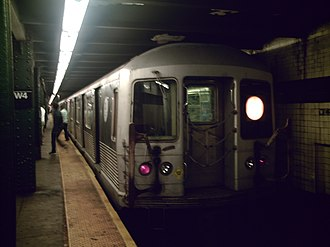 V (New York City Subway service) - A train made of R42 cars in V service at West Fourth Street, bound for Lower East Side–Second Avenue.