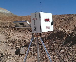 Deformation monitoring - A radio telemetry wireline extensometer monitoring slope deformation.