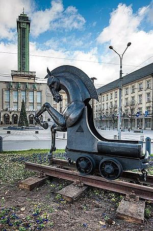 Ostrava - A sculpture of the city's horse emblem outside the New City Hall