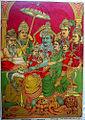 Rama and Sita, Hanuman, and Rama's three brothers Lakshmana, Bharata, and Shatrughna.jpg