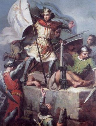 Conquest of Majorca - Ramon Berenguer III thrusting the sign of Barcelona in the Fos castle (Fos-sur-Mer, Provenza), by Marià Fortuny (1856 or 1857), Reial Acadèmia Catalana de Belles Arts de Sant Jordi (on trust at the Palau de la Generalitat de Catalunya).