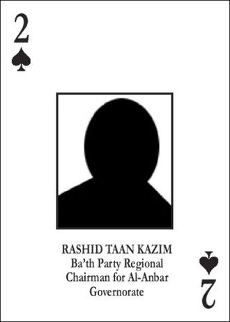 Most-wanted Iraqi playing cards - Rashid Taan Kazim playing card