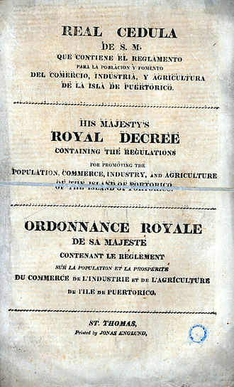 Coolie - Royal Decree of Graces of 1815, a legal order approved by the Spanish Crown to encourage foreign settlement of the colonies of Cuba and Puerto Rico.