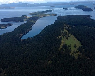 Stuart Island (Washington) - South-facing aerial view of Reid Harbour on Stuart Island