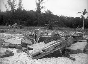 1921 Tampa Bay hurricane - Remains of Dr. Cyrus Teed's mausoleum on Estero Island