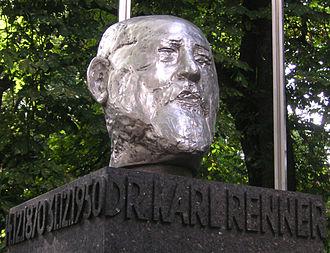 Karl Renner - Monument to Karl Renner next to the Austrian Parliament on Ringstraße, Vienna, Austria
