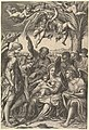 Rest on the Flight into Egypt; the Holy Family under a palm tree surrounded by angels, putti, and a male cleric or saint MET DP821557.jpg